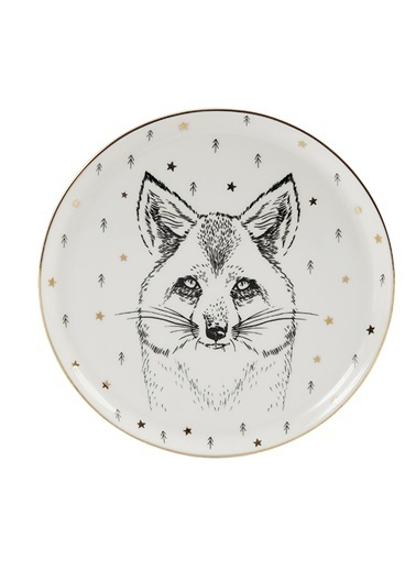 Porland Forest Fox Düz Tabak 20cm Renkli